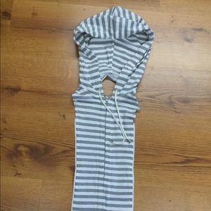 Veronica Beard striped Dickey zip up Hoodie Grey